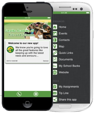 cellphone with Smythe Academy of Arts and Sciences screen and message: Welcome to our new app! We know you